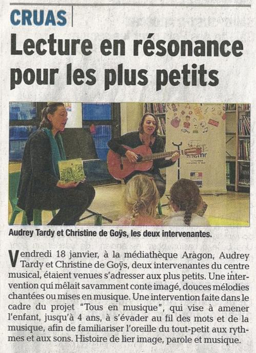 Article du Dauphiné Libéré du 20 jan. 2019